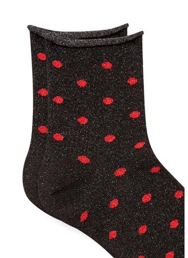 Mavi Kırmızı Puantiyeli Simli Soket Çorap Lacivert